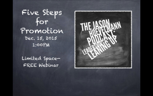 FREE Webinar–Five Steps for Promotion